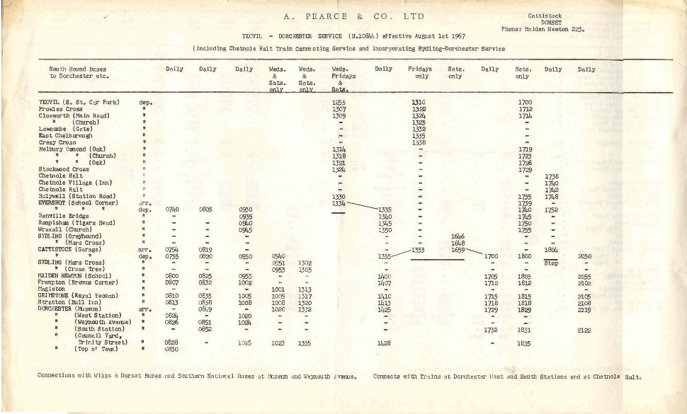 1967 timetable southbound