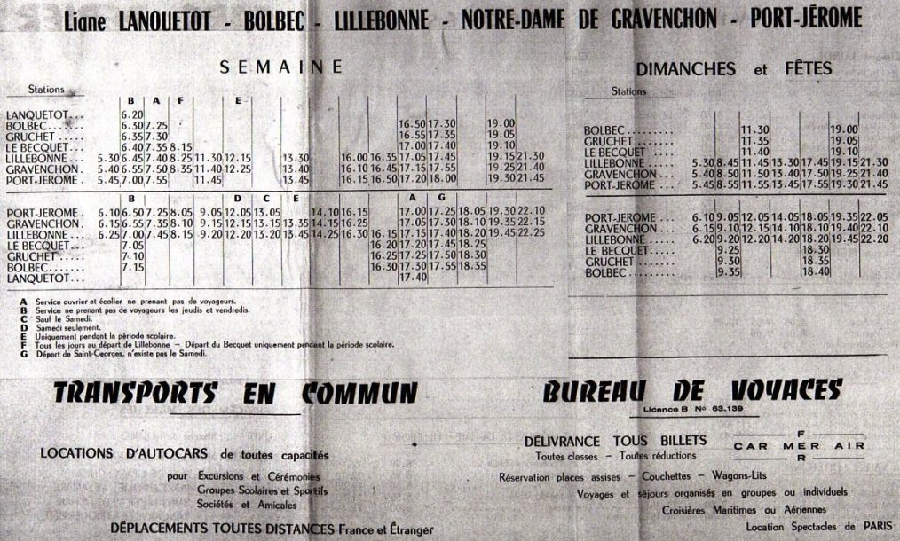 Perier timetable 1970