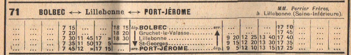 1945 Perrier Freres timetable