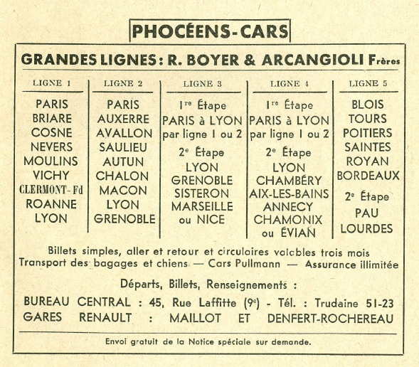 Phoceens-Cars routes 1936