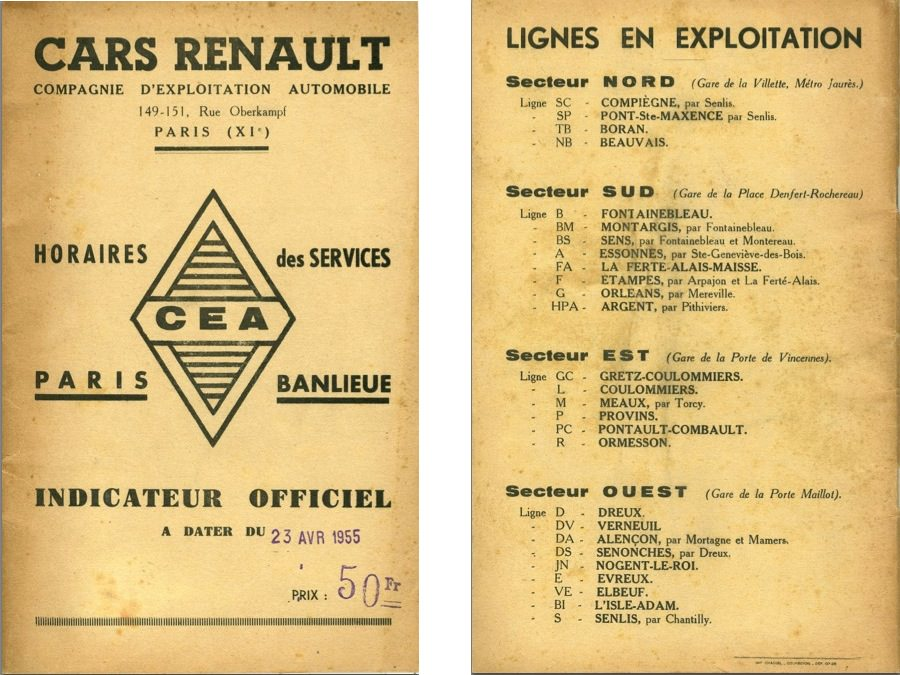 Cover and route list Renault 1955 Paris