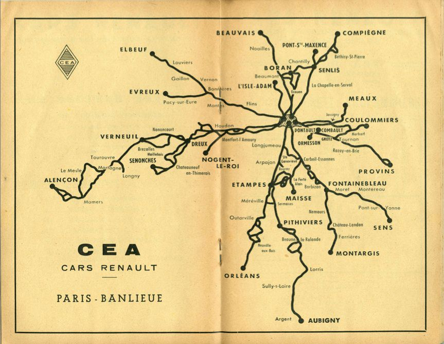 Map of Renault routes Paris are 1955