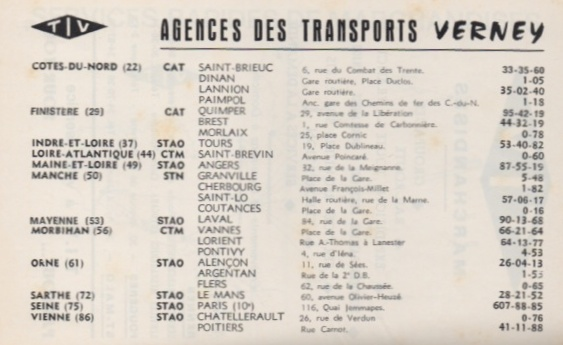 List of Verney agencies from TIV 1969 timetable
