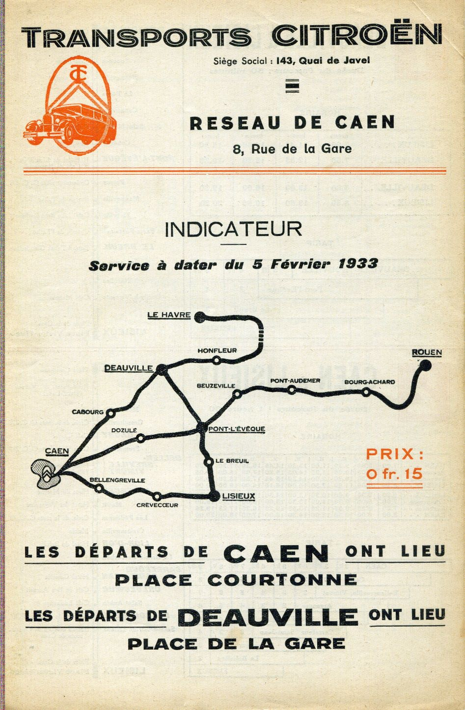 1933 Transports Citroen map Tours