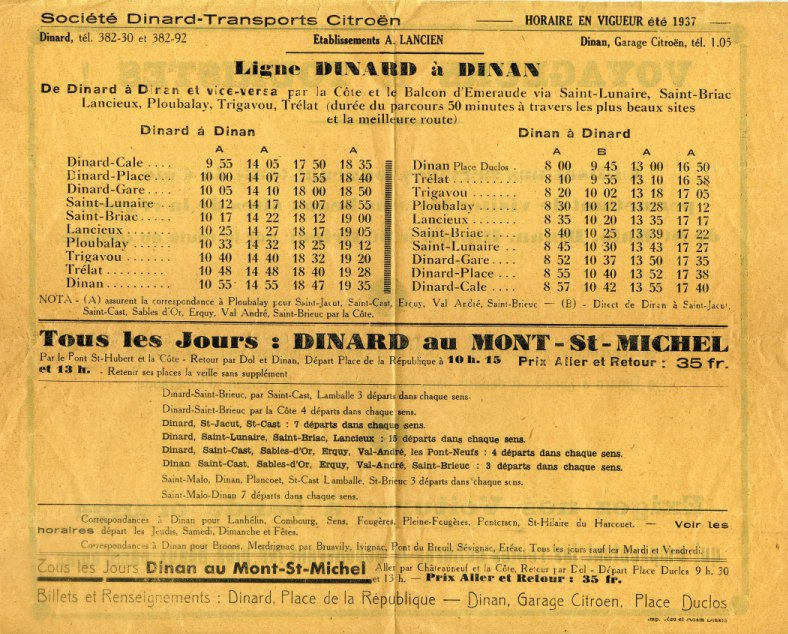 1937 timetable Transports Citroen Dinard