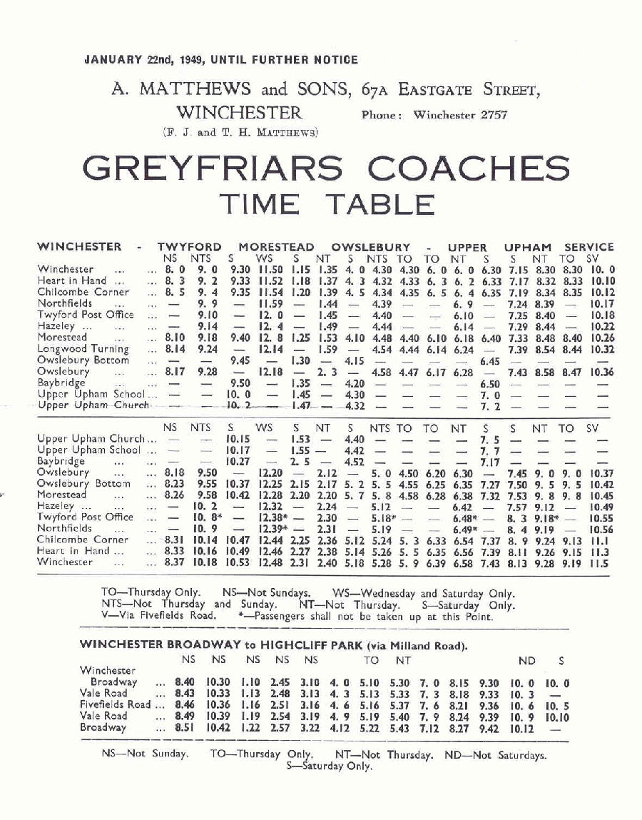 1949 Greyfriars timetable