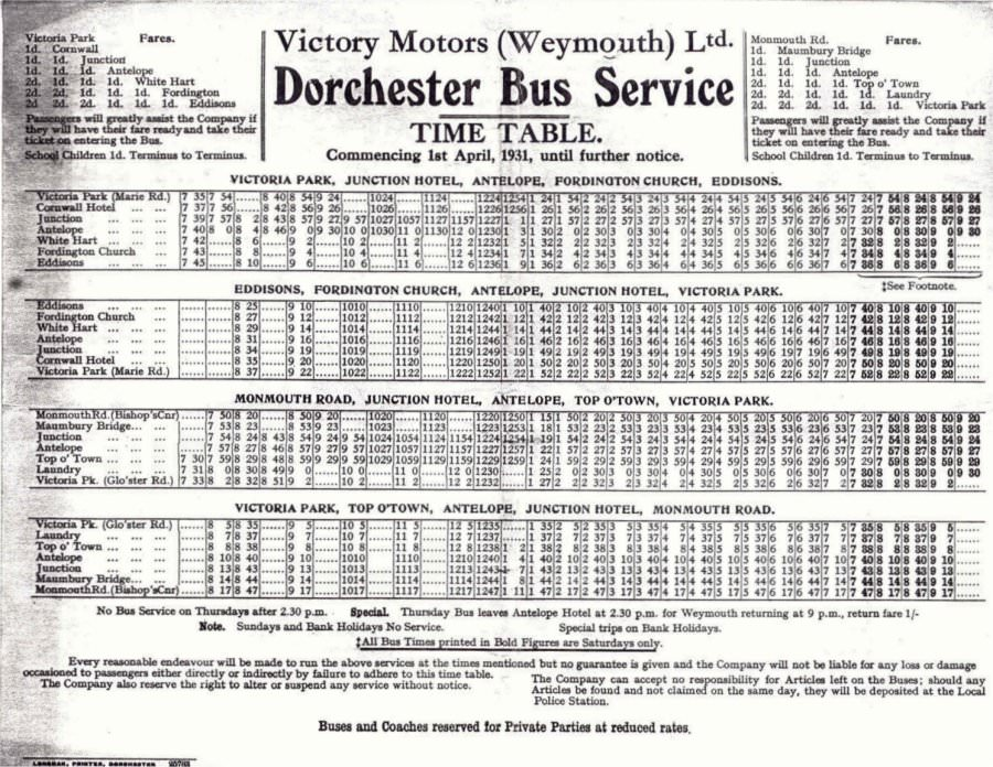 1931 Victory Motors timetable