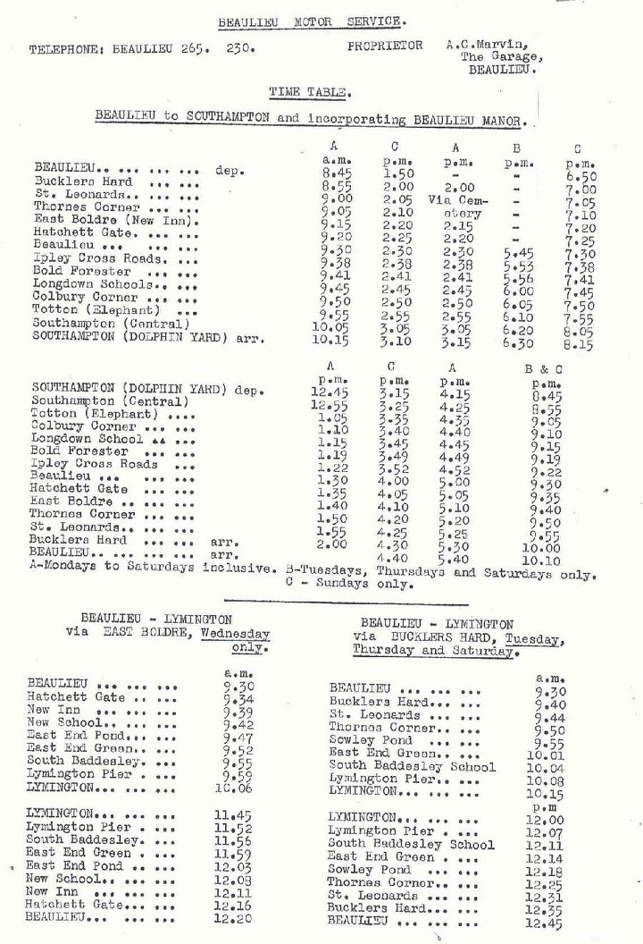 1949 Beaulieu timetable