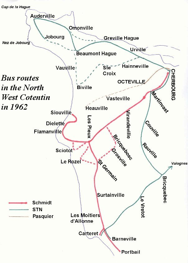 map of bus routes 1962