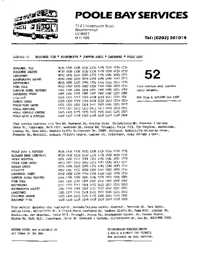 Route 52 timetable