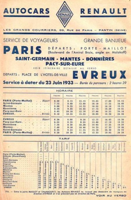 1933 timetable Paris - Evreux