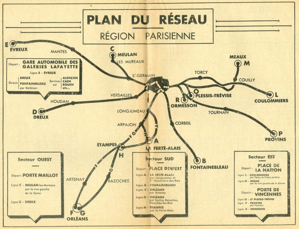 1933 Paris area plan of Renault  routes
