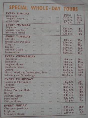S&R day tours list 1960s