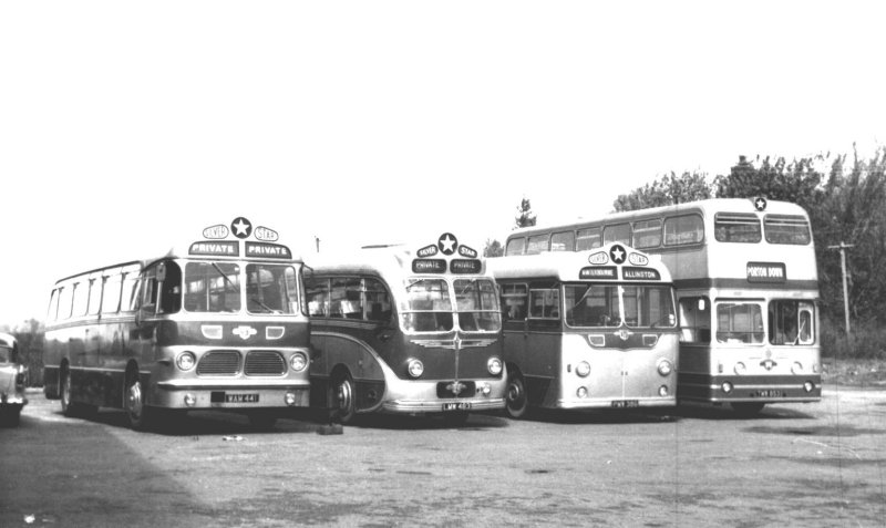 a line up of four buses at Porton a month before the end