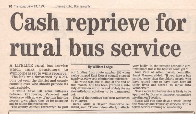 news story 1993 reprieve for bus service