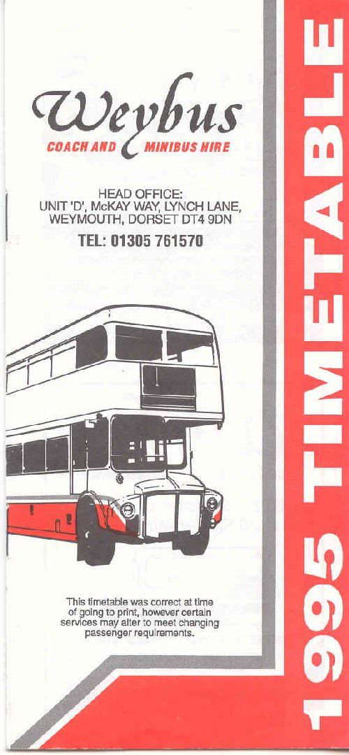 1995 weybus timetable booklet